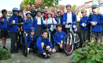 Bike Bus pupils from Fielding Primary School