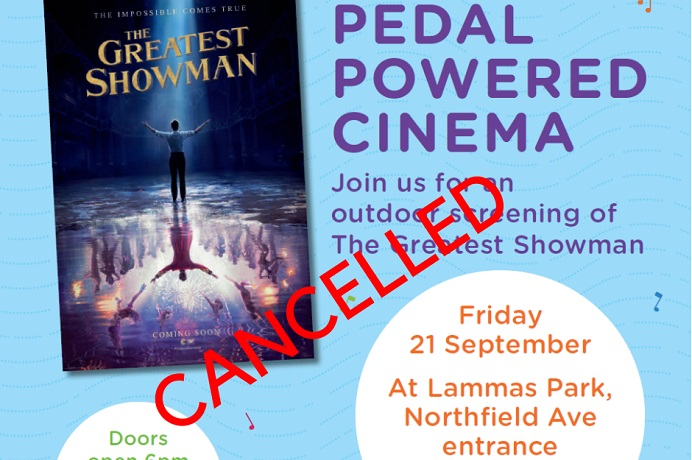 Pedal powered cinema cancelled
