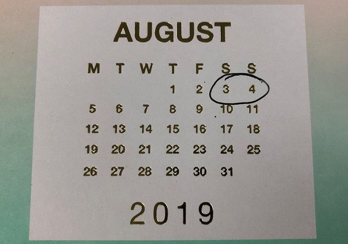 August 2019 calendar with 3 and 4 August ringed in ink