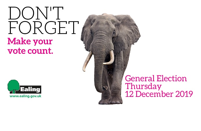 Don't forget to vote, General Election 2019, elephant