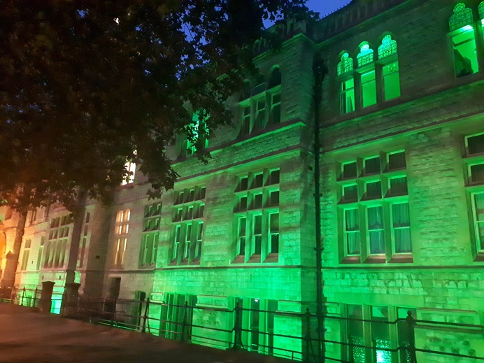 Ealing Town Hall, lit green for Grenfell
