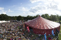 Crowds outside the big top at Ealing Summer Festival
