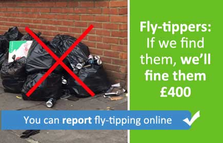 Fly-tippers can be fined £400 - you can report fly-tipping online
