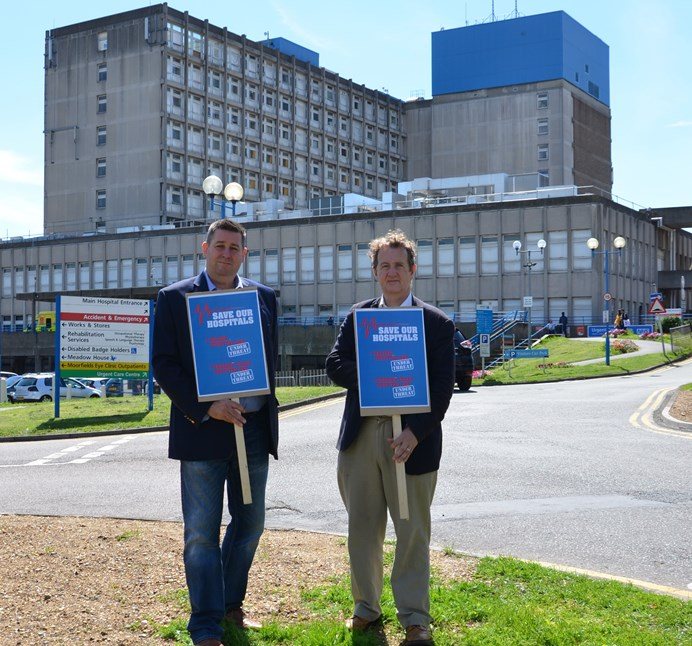 Cllr Steve Cowan & Cllr Julian Bell outside Ealing Hospital