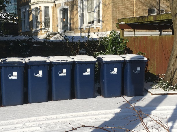 recycling bins in snow
