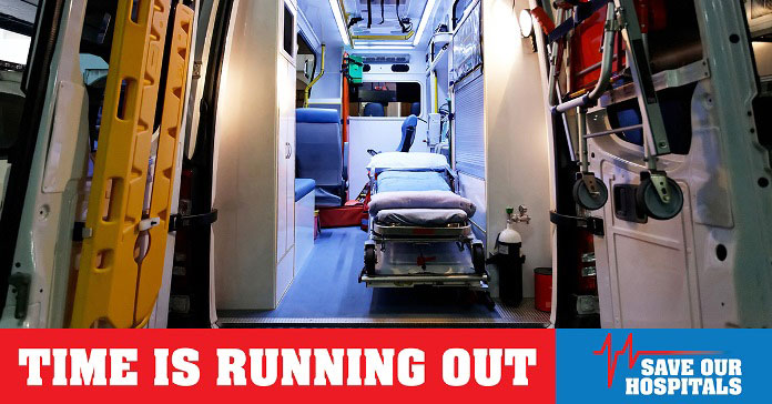 Time is running out to save our hospitals - bed in ambulance