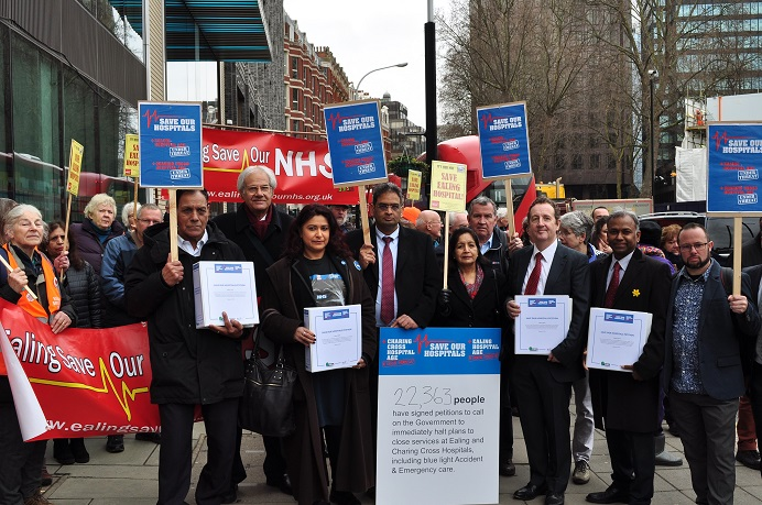 A delegation from Ealing Council along with community campaigners visit the Department of Health and Social Care to submit a petition to oppose hospital cuts.