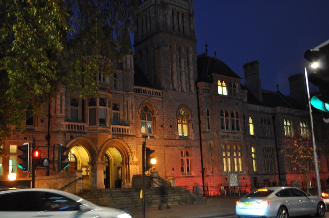 Ealing Town Hall lit red for World Aids Day