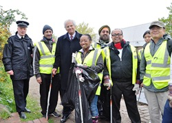 Cllr Ranjit Dheer, police, council staff and volunteers at the clean up day