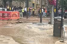 Burst water main in The Mall, Ealing Broadway