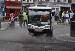 Street cleaning in Ealing following a night of vandalism and violence in the town