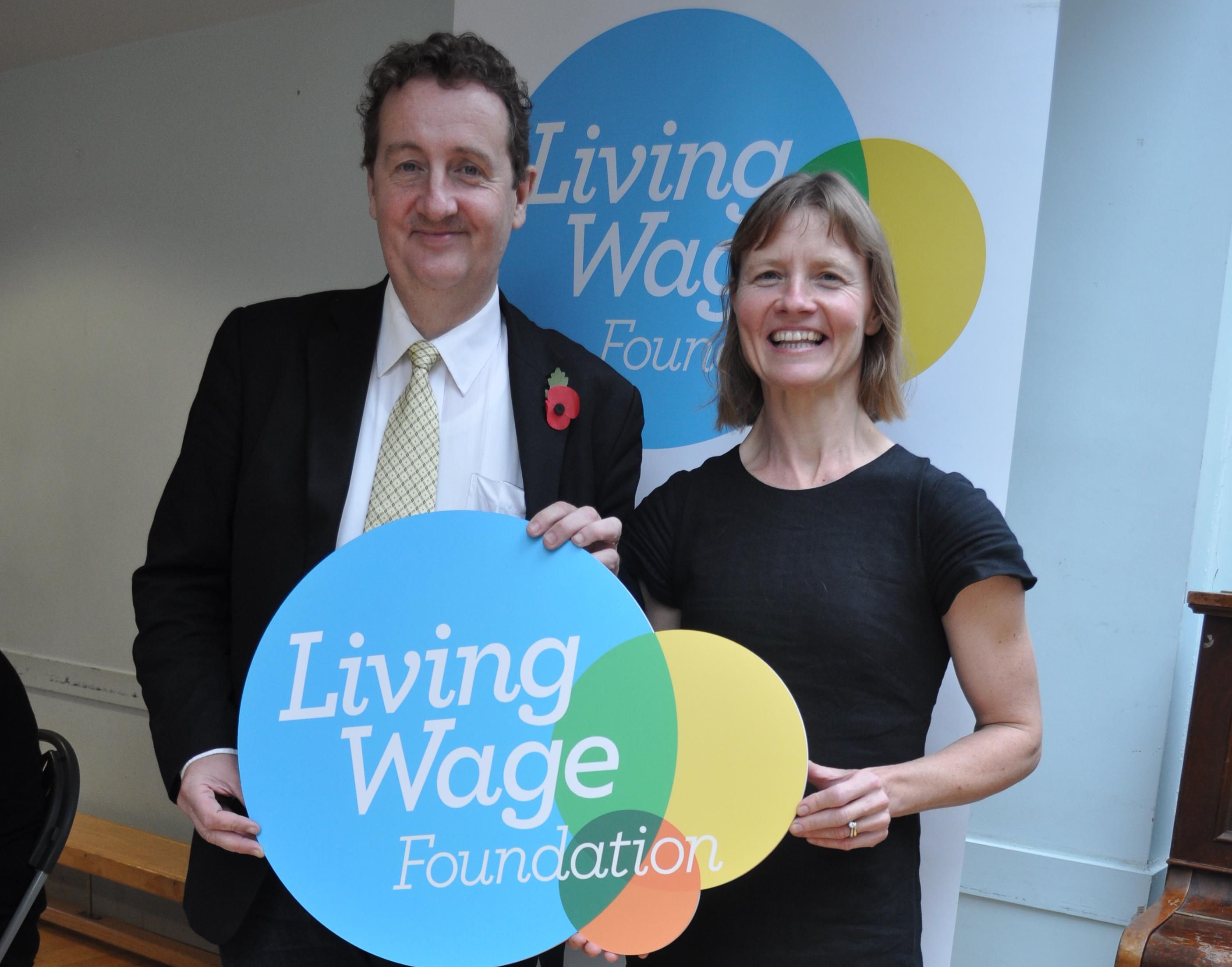 Cllr Bell at the Living Wage launch Sept 15