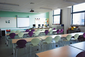 An empty school classroom