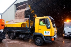 Gritting truck being loaded with salt ready to go out on the roads.
